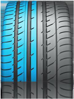 Внутренняя зона шины - повышенные характеристики при торможении и препятствование возникновению эффекта аквапланирования